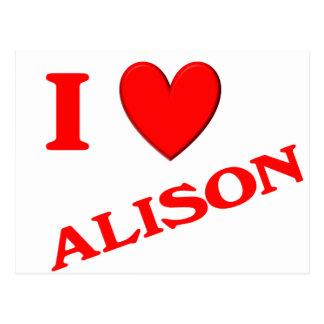 Eu amo Alison Cartoes Postais