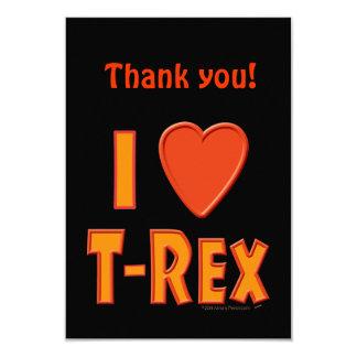 Eu amo amantes do dinossauro de Rex do Convite 8.89 X 12.7cm