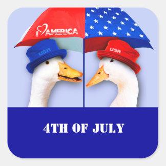 Eu amo América. Patos engraçados 4ns de etiquetas