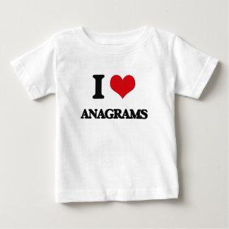 Eu amo anagramas camiseta para bebê
