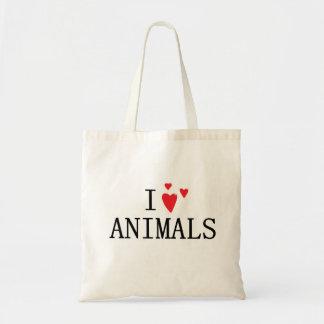 Eu amo animais bolsa tote