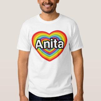 Eu amo Anita, coração do arco-íris Tshirts