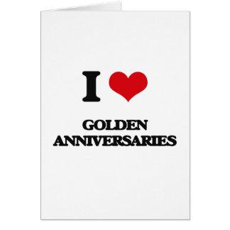 Eu amo aniversários dourados cartao