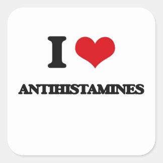 Eu amo antistamínicos adesivo em forma quadrada