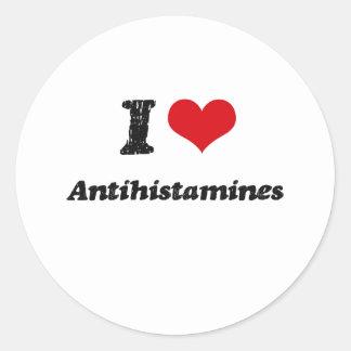 Eu amo antistamínicos adesivo em formato redondo