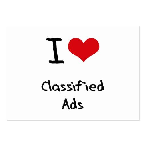 Eu amo anúncios classificados modelo cartões de visita