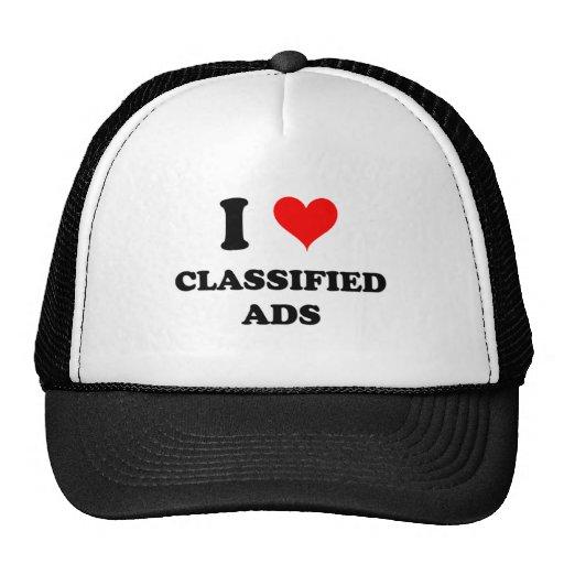 Eu amo anúncios classificados bonés