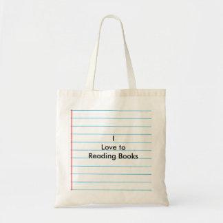 """""""Eu amo aos livros de leitura """" Sacola Tote Budget"""