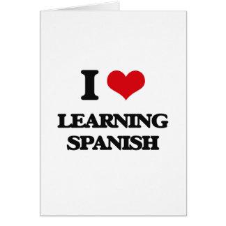 Eu amo aprender o espanhol cartão comemorativo