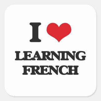 Eu amo aprender o francês adesivo quadrado