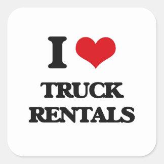 Eu amo arrendamentos do caminhão adesivo quadrado