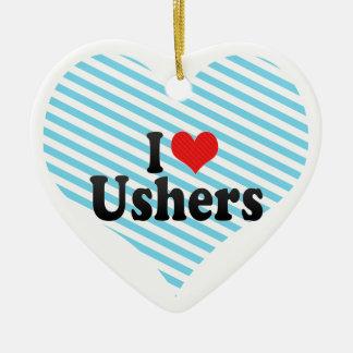 Eu amo arrumadores ornamento de cerâmica coração