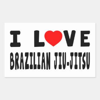Eu amo artes marciais de Jiu-Jitsu do brasileiro Adesivo Retangular