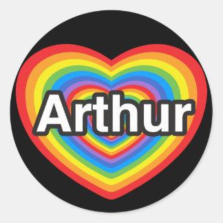 Eu amo Arthur. Eu te amo Arthur. Coração Adesivo Em Formato Redondo