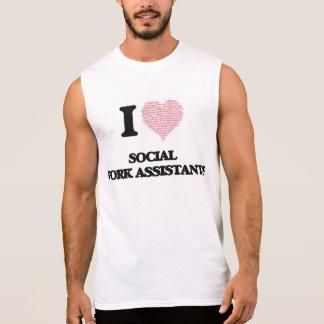 Eu amo assistentes do trabalho social (coração camisa sem mangas