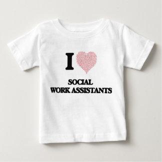 Eu amo assistentes do trabalho social (coração t-shirt