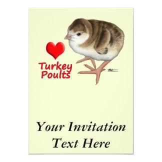 Eu amo aves jovens de Turquia! Convite 12.7 X 17.78cm