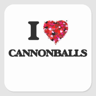 Eu amo balas de canhão adesivo quadrado