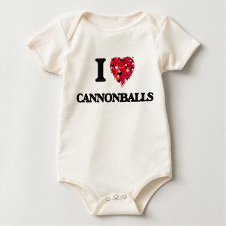 Eu amo balas de canhão macacãozinho para bebês