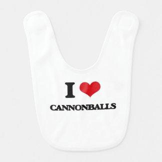 Eu amo balas de canhão babadores para bebes