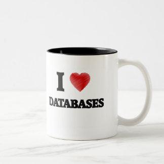 Eu amo bases de dados caneca de café em dois tons