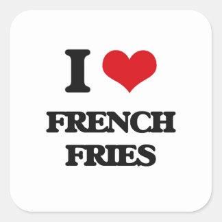 Eu amo batatas fritas adesivo quadrado