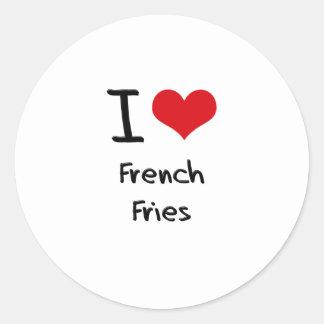Eu amo batatas fritas adesivos redondos