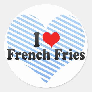 Eu amo batatas fritas adesivo redondo