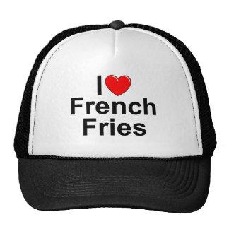 Eu amo batatas fritas do coração bonés
