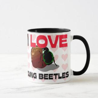 Eu amo besouros de estrume caneca