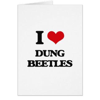 Eu amo besouros de estrume cartões