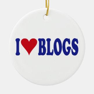 Eu amo blogues ornamento de cerâmica redondo