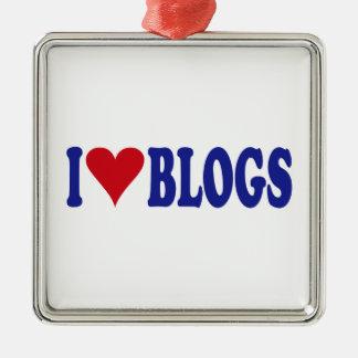 Eu amo blogues ornamento quadrado cor prata