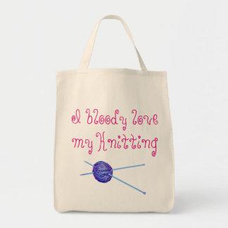 Eu amo bloody minha confecção de malhas bolsa tote