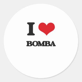 Eu amo BOMBA Adesivos Redondos