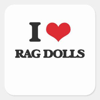 Eu amo bonecas de pano adesivo quadrado