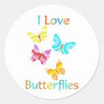 Eu amo borboletas adesivos redondos