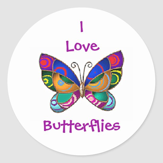 Eu amo borboletas arredondo etiquetas adesivo