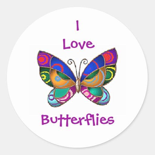 Eu amo borboletas arredondo etiquetas adesivos em formato redondos