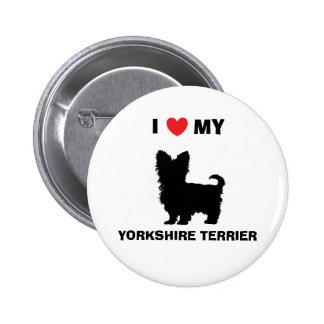 """""""Eu amo botão do meu yorkshire terrier"""" Bóton Redondo 5.08cm"""