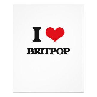 Eu amo BRITPOP Panfleto Coloridos