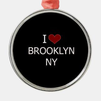 Eu amo Brooklyn, NY Ornamento Redondo Cor Prata