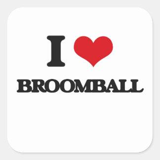Eu amo Broomball Adesivo Em Forma Quadrada