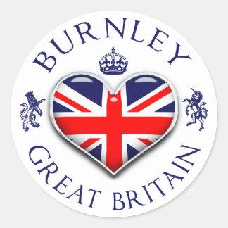 Eu amo Burnley Adesivo Redondo