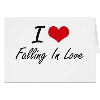 Eu amo cair no amor cartão de nota