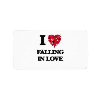 Eu amo cair no amor etiqueta de endereço