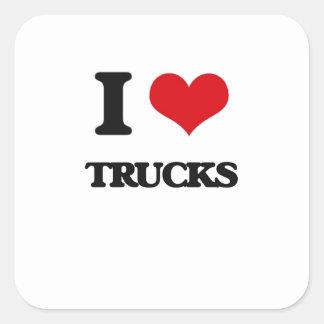 Eu amo caminhões adesivo quadrado