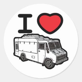 Eu amo caminhões da comida! adesivo em formato redondo
