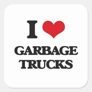 Eu amo caminhões de lixo adesivo quadrado