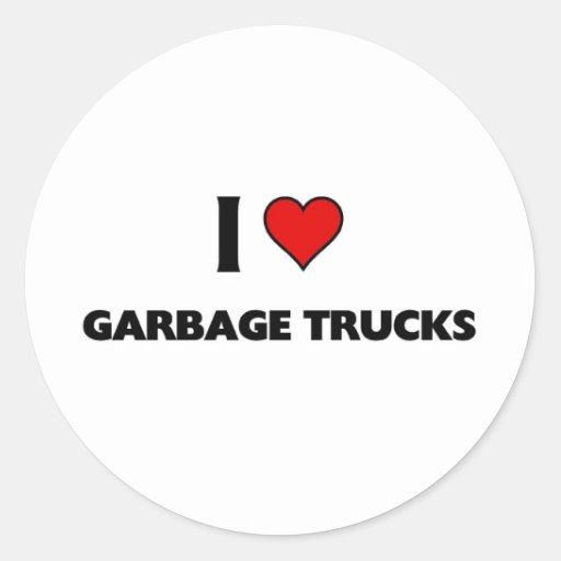 Eu amo caminhões de lixo adesivo em formato redondo